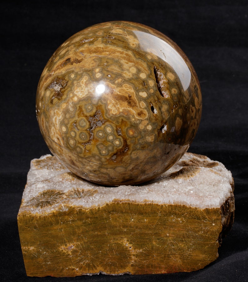 Ocean orbicular JASPER polished sphere with stand ball 4.53 inches #2672P stone healing chakra crystal Madagascar