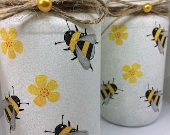 Bumble Bee Jar Lantern Decor Lamp Bubblebees Mason Jars Hand Painted Decoupage Home Accessories Storage Kitchen Ideas G
