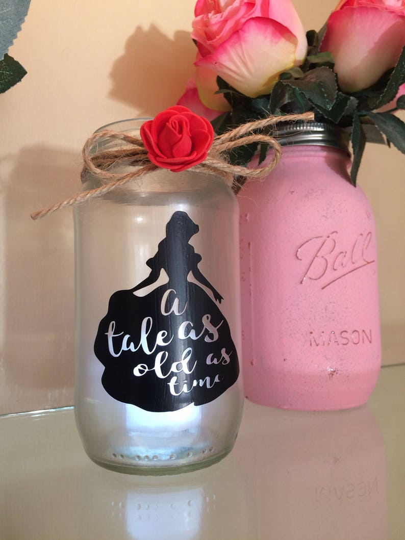Belle Beauty And The Beast Lantern Jar Tale As Old As Time Etsy