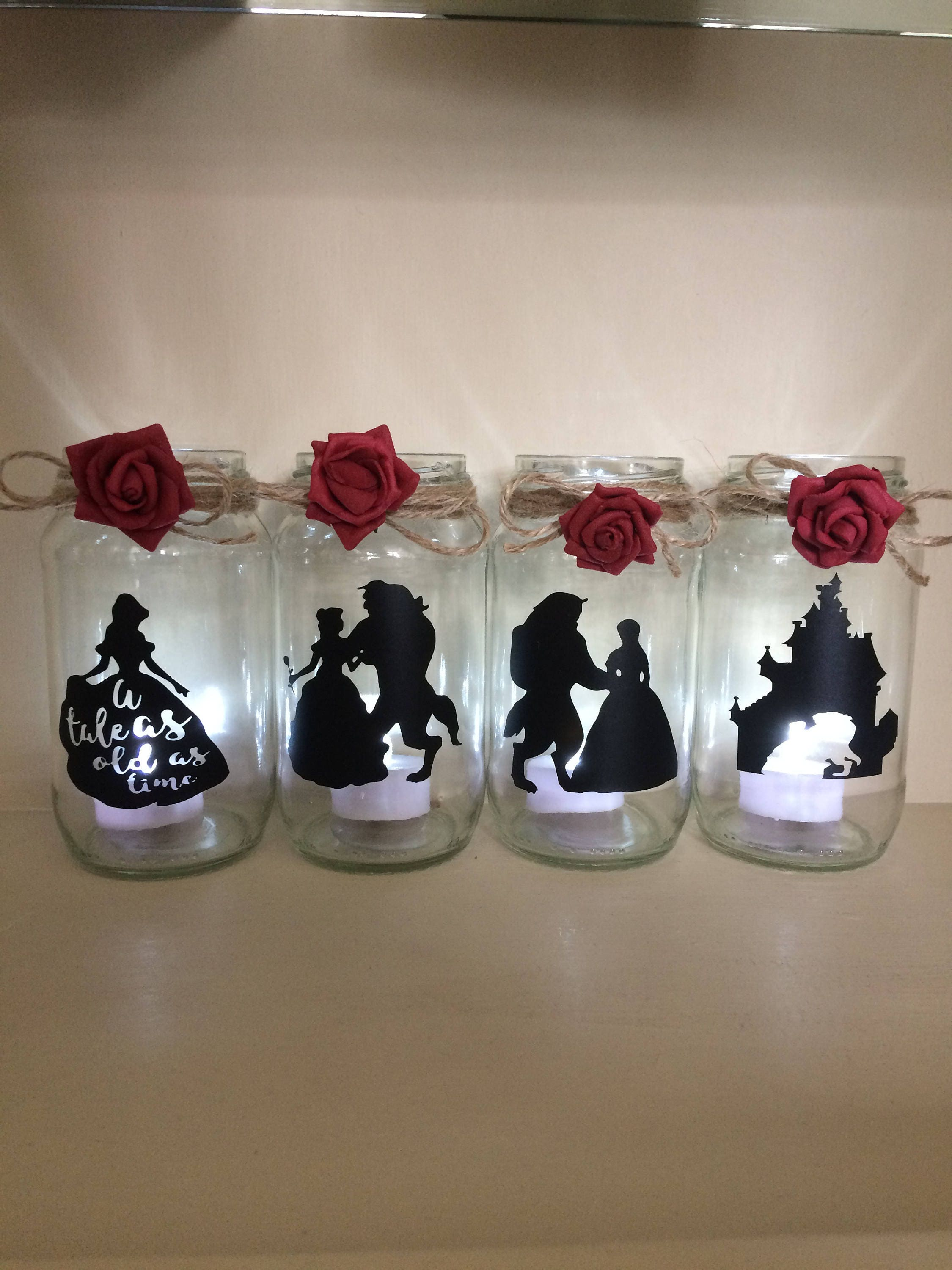 Beauty And The Beast Wedding Centerpiece Lantern Jar Belle Etsy