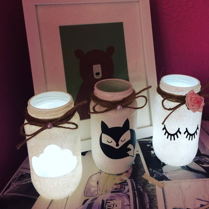 Jar light Cloud baby nursey decor love jar lights lantern ladies gift kids wedding candle holder handmade vintage ideal Valentine/'s Day gift