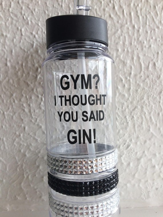 Gym Water Bottle Black Diamante Blue Green Funny Quote Gym Gin 700ml Sportsbottle Motivation Gym Gift Christmas Flip Lid Red Quote Sports