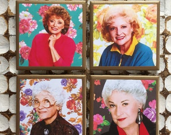 COASTERS! Golden Girls coasters with floral background and gold trim