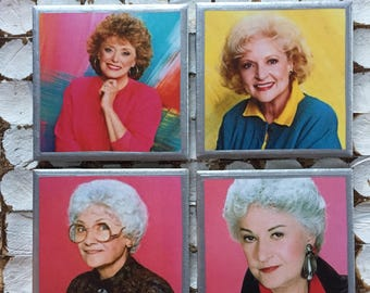 COASTERS!! Golden Girls coasters with silver trim