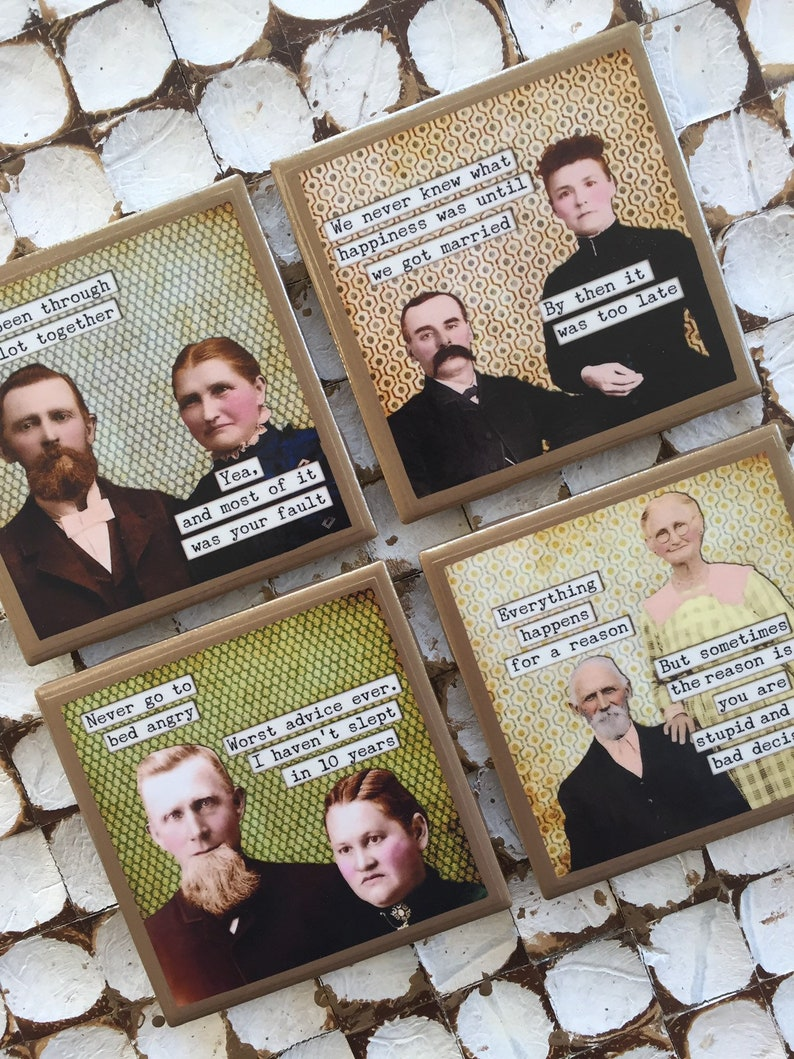 COASTERS! Hilarious married couples coasters with gold trim