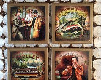 COASTERS! Vintage gentleman coasters with gold trim