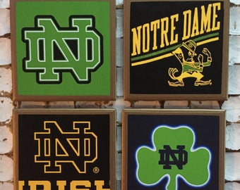COASTERS! Notre Dame Fighting Irish set of coasters with gold trim