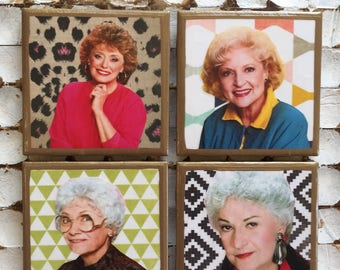COASTERS! Golden Girls coasters with abstract backgrounds and gold trim