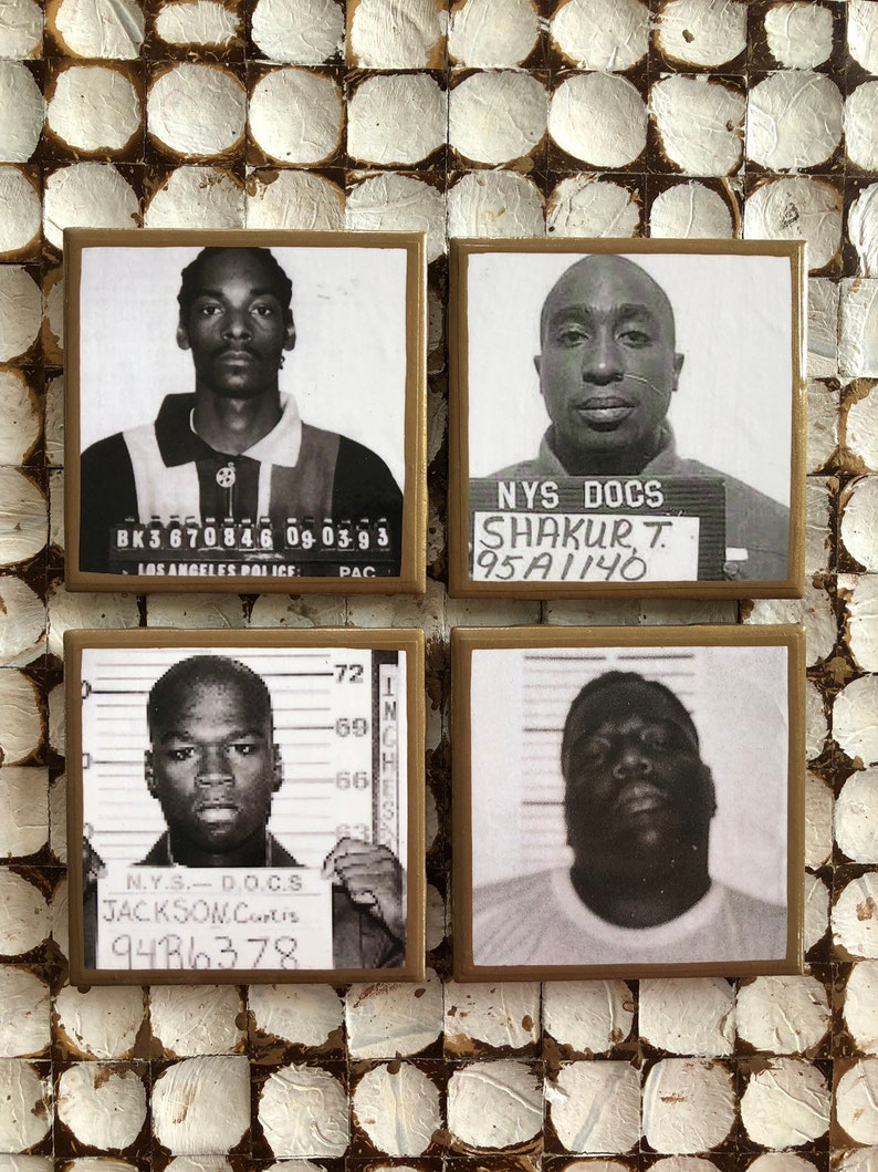 COASTERS! Celebrity mugshot coasters with gold trim  Snoop, biggie, 50 cent  and Tupac