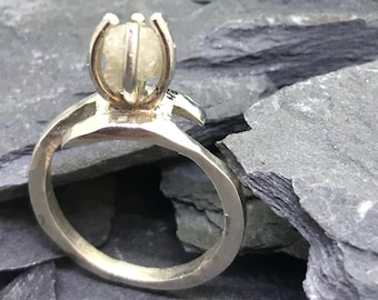 Diamond Ring - Natural Raw uncut Diamond in a Sterling Silver Claw setting on a Sterling Silver Ring