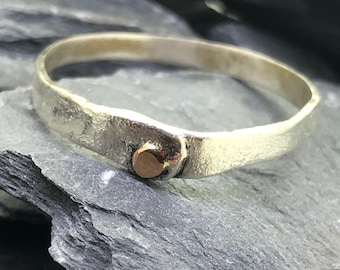 Sterling Silver Ring with Bronze Bolt