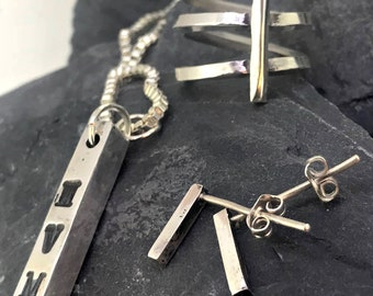 Solid Silver Bar Jewellery Set