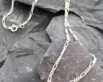 Solid 925 Sterling Silver Figaro Necklace with standard lobster clasp