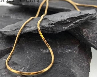 18ct Yellow Gold Plated Gold Snake Chain Necklace 1mm think