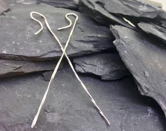 Rectangular Threader Earrings in Sterling Silver