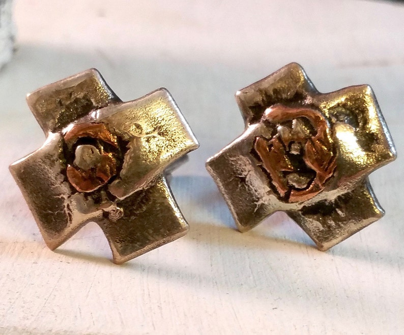Handmade sterling silver cufflinks in the shape of a cross with a bronze middle Rustic and Industrial these are truly unique!