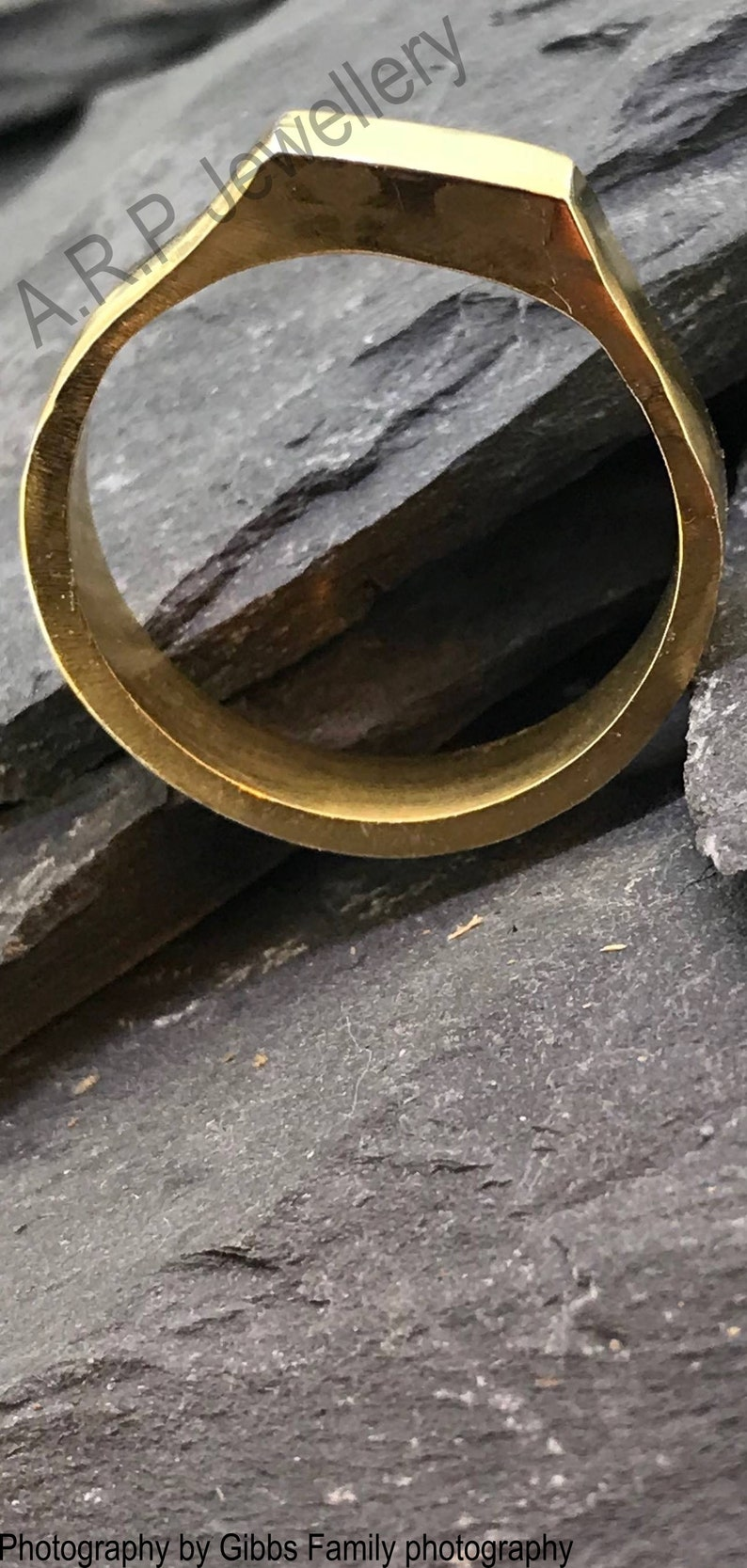 Elegant Solid Men/'s Ring made from sterling silver and plated into gold.