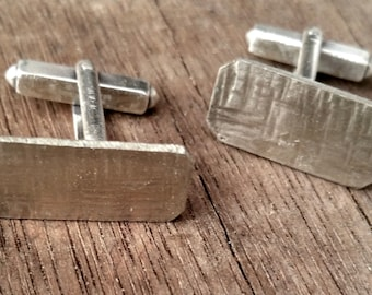 Recycled Solid Silver Cufflinks  which have been etched and hammered.