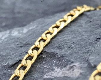 A plain elegant Diamond Cut Curb 18ct Gold plated  Necklace