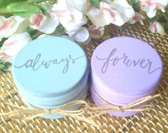 Custom Wedding Ring Boxes, Set of Two, Rustic Wooden Ring Boxes, Wedding Gift, Ring Bearer Boxes with Burlap, Always and Forever
