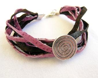 Multistrand leather bracelet, Two color leather bracelet, Illusion circle bracelet, Leather bracelet, Modern bracelet, Elegant bracelet