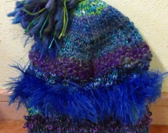 One of a kind handknitted, high-visibility reflective hat with fleece lining (Handgestrickte, reflektierende Mütze mit Fleece Futter)