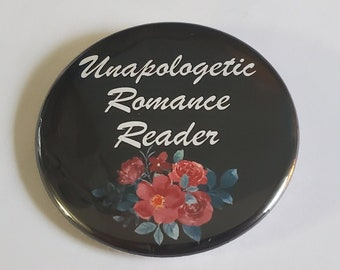 Romance Novel Reader pinback button, refrigerator magnet, bottle opener magnet, key chain
