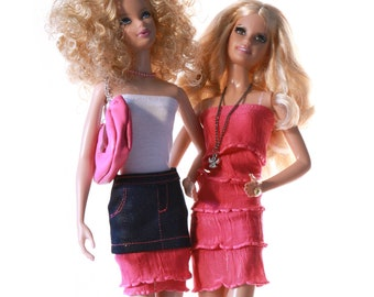 Handmade clothes for Barbie (dress set): Pinkscroll set VIII.