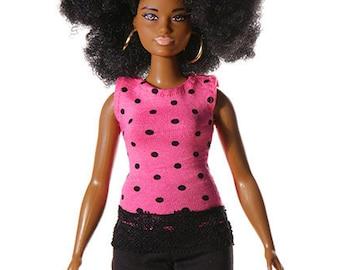 Handmade clothes for Barbie Curvy (top): Cila