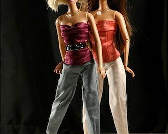 Handmade clothes for Barbie (dress set)  Pinkscroll set V.