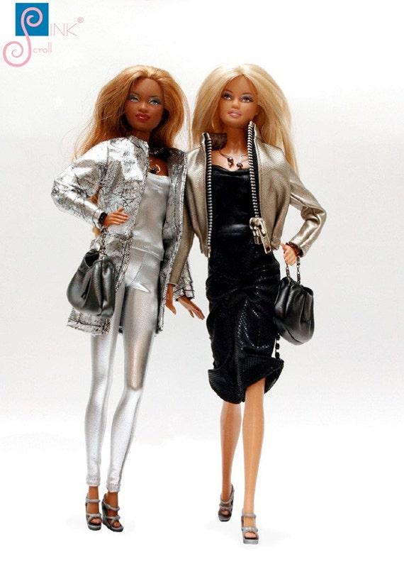 Pinkscroll set I. dress set Handmade clothes for Barbie