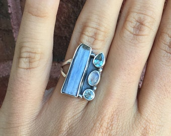 Unique Multi Stone Kyanite Blue Topaz and Rainbow Moonstone 925 Sterling Silver Ring Size 6 Boho Reiki Healing Crystals Gemstones