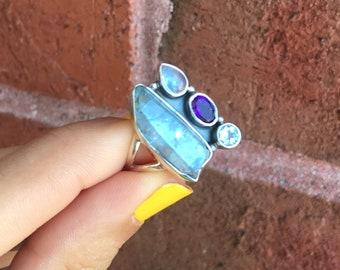 Unique MultiStone Aquamarine Amethyst Blue Topaz and Rainbow Moonstone 925 Sterling Silver Ring Size 6 Boho Reiki Healing Crystals Gemstones