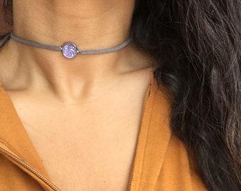 Lavender Druzy Choker Grey Suede Bow Tie Adjustable Wrap Necklace Burlesque 90s Jewelry Fun Boho