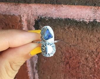 Beautiful Rough Ethiopian Opal Sun Design Ring Solid 925 Silver Jewelry Size 9 Healing Crystals Reiki Chakra Boho Rings