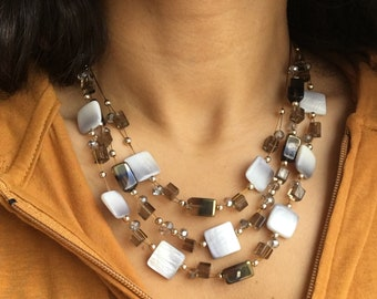 Intricate Handmade Beaded Rhodium and Shell Necklace and Earrings Set