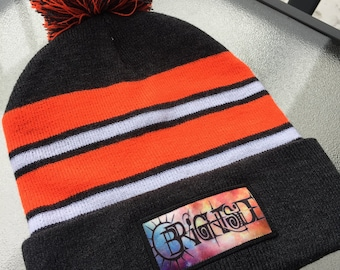 5dd1249227b34 Hand-Embroidered Grey White and Orange Brightside Pom Pom Beanie One Size  Fits All