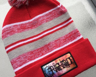 d5d1eaaa5844c SALE 30% OFF Hand-Embroidered Red Grey and White Brightside Pom Pom Beanie  One Size Fits All