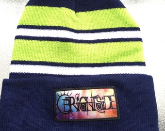 Hand-Embroidered Navy White and Neon Green Brightside Pom Pom Beanie One  Size Fits All 1b83765bbe7
