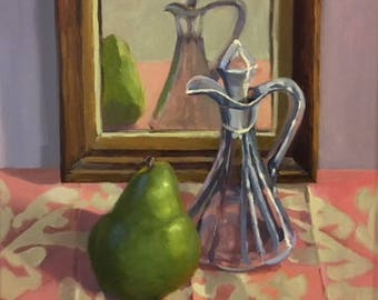"SALE! Oil Painting 12"" x 12"" / Still Life with Pear and Cruet"