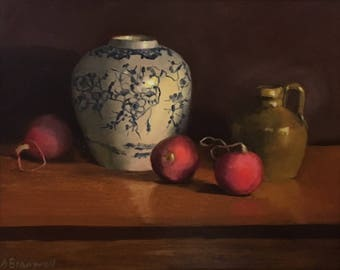 """Oil Painting 10"""" x 8"""" / Radishes"""