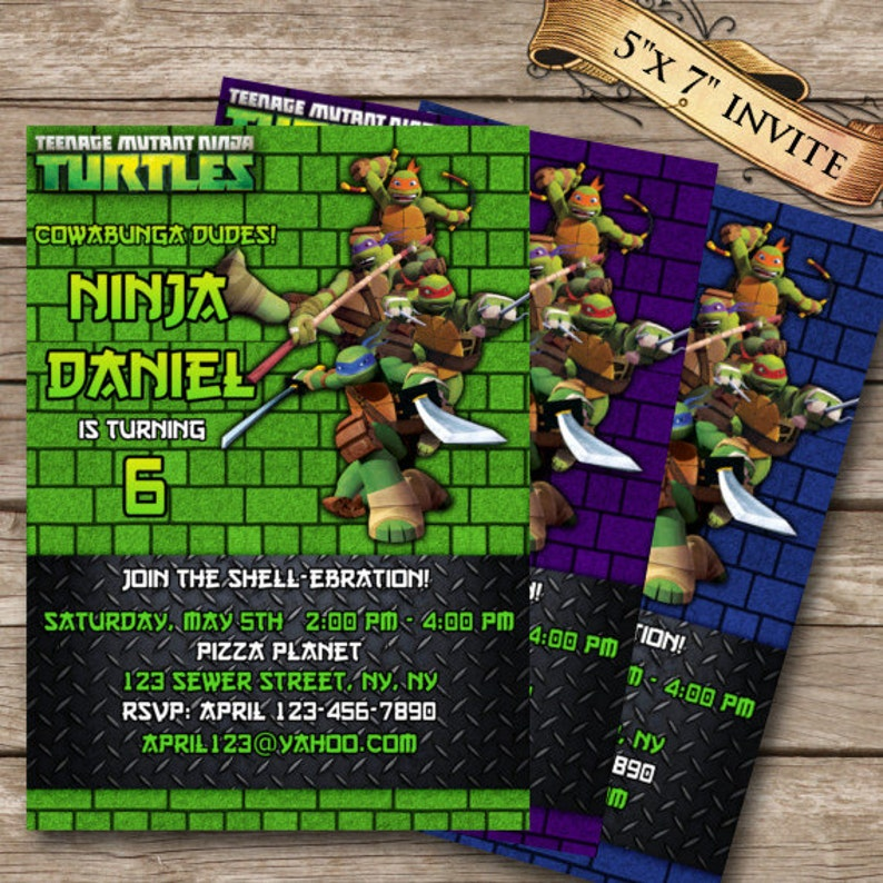 Teenage Mutant Ninja Turtles Birthday Invitation TMNT   Etsy