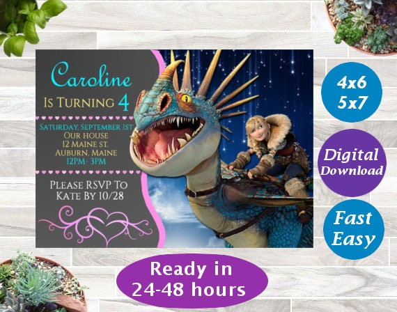 How To Train Your Dragon Themed Birthday Invitation Digital Download Astrid Printable Invite