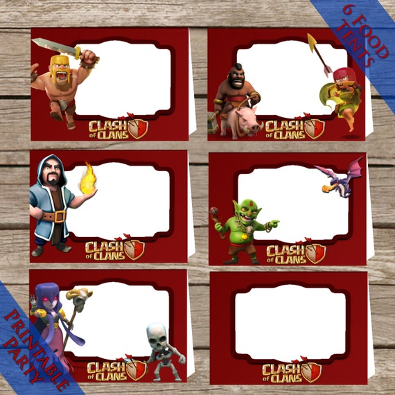 Clash Of Clans Themed Food tents! Printable Party place holders! Digital Download!