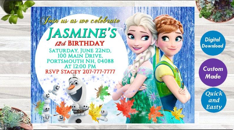 Frozen 2 Birthday Invitation Digital Download Custom Invite