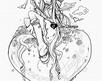 Aim for the Heart Cupid DIGITAL STAMP Instant Download for Cards & Crafts