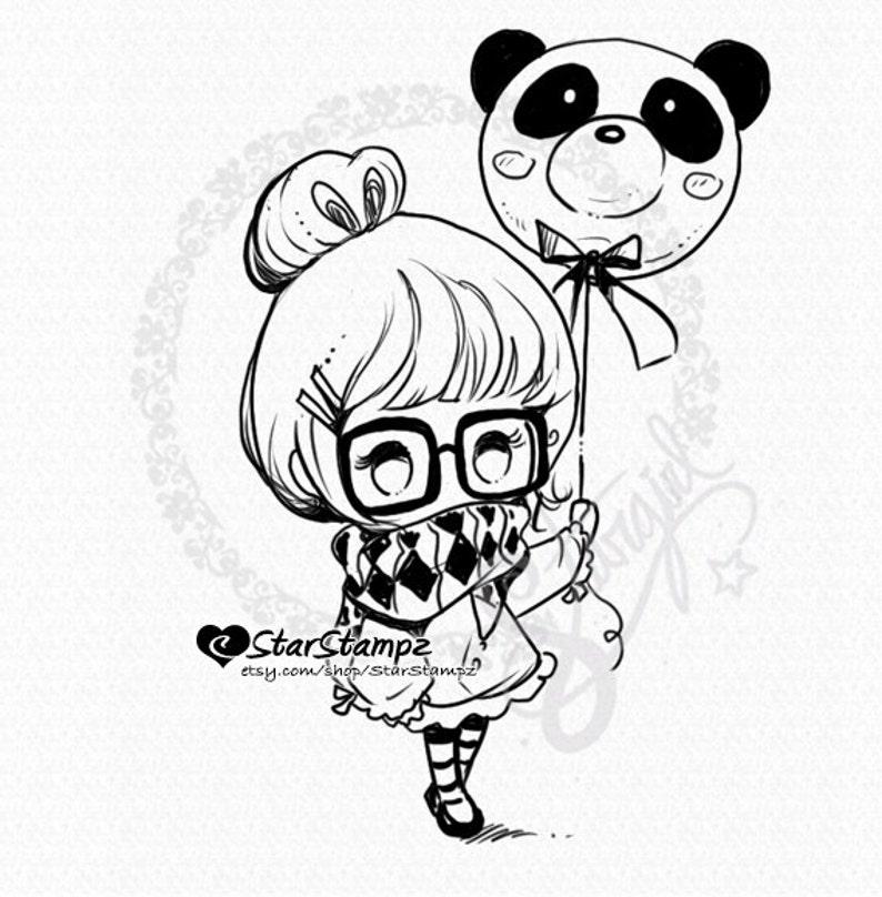 Panda Balloon DIGITAL STAMP Instant Download image 0