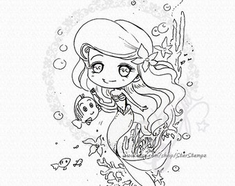 Little Mermaid Chibi DIGITAL STAMP Instant Download