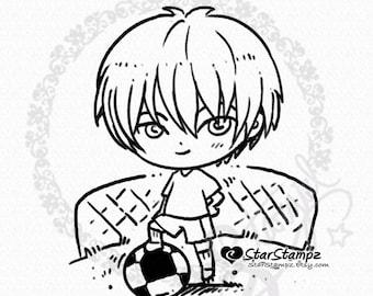Football Soccer Boy DIGITAL STAMP Instant Download