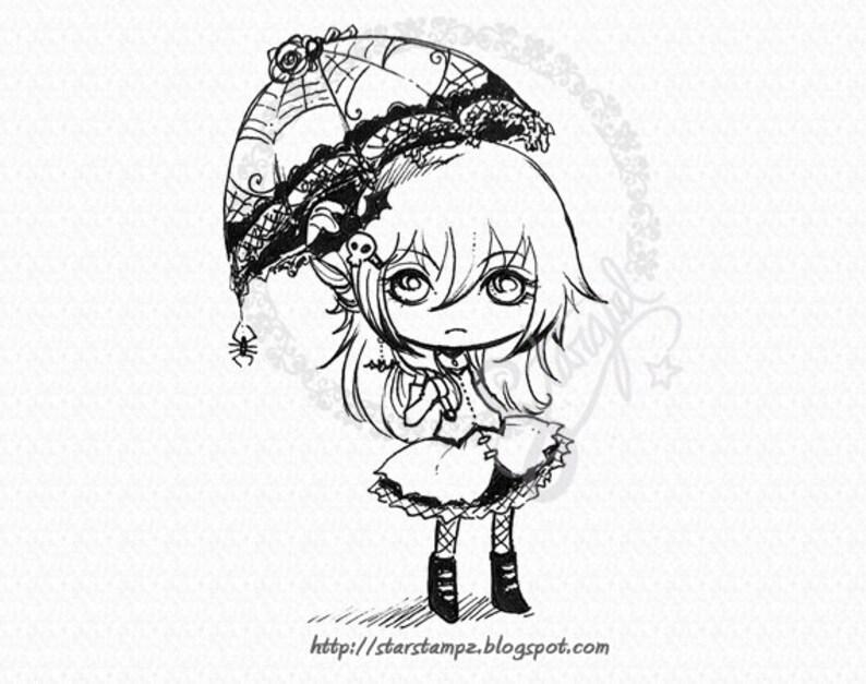 Goth Girl  DIGITAL STAMP Instant Download for Cards & Crafts image 0